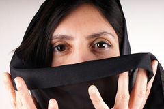 Black trasparent scarf Stock Photo