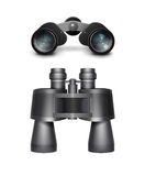 Black travel binoculars. Vector set of black travel binoculars top side view isolated on white background Stock Images