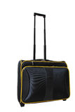 Black travel case. Wheeled suitcase luggage in black, included 3 paths of handle - isolated on white background Royalty Free Stock Photo