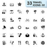 33 black travel icons 02. This set contains 33 icons that can be used for designing and developing websites, apps, as well as printed materials and presentations Royalty Free Stock Photos