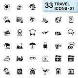 33 black travel icons 01. This set contains 33 icons that can be used for designing and developing websites, apps, as well as printed materials and presentations Royalty Free Stock Photos