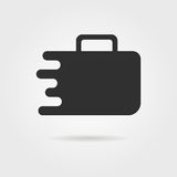 Black travel suitcase icon with shadow. Concept of travelling, visual identity, handbag, recreation, booking. isolated on gray background. flat style trend Royalty Free Stock Photo