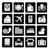 Black travel, transportation and vacation icons. Vector icon set Royalty Free Stock Photography