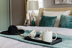 Black tray of tea set in modern bedroom Stock Image