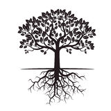 Black Tree And Roots. Vector Illustration. Royalty Free Stock Photos