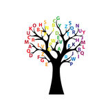 Black tree and colored letters Royalty Free Stock Image