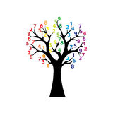 Black tree and colored numbers Stock Images
