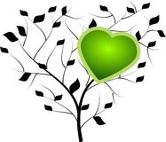 Black tree with green heart Royalty Free Stock Photo