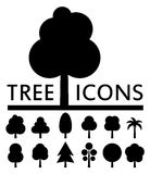 Black tree icons collection. On white background Stock Photography