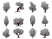 Black tree icons set Royalty Free Stock Photos