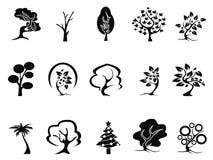 Black tree icons set Royalty Free Stock Photo