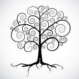Black Tree Illustration. Abstract Vector Black Tree Illustration Isolated on Light Grey Background Stock Images