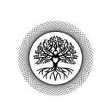 Black Tree of life and Love. The tree of life in the abstract circle. black Against the background of the sun, love Symbol of growth, rootedness, stability stock illustration