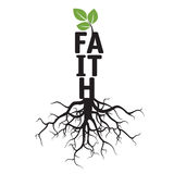 Black  Tree, Roots and text FAITH Royalty Free Stock Images