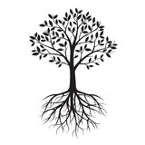 Black Tree with Roots. Vector Illustration. stock illustration