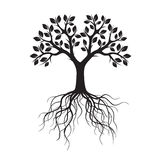 Black Tree with Roots. Vector Illustration. Stock Photography