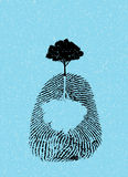 Black tree silhouette on fingerprint. Isolate on sky blue Royalty Free Stock Photography