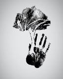 Black tree silhouette on handprint. Isolate on black stock illustration