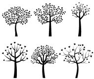 Black tree silhouettes with heart shaped leaves. Set of black vector tree silhouettes with leaves in the shape of hearts Stock Photography