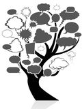 Black tree with speech bubble Stock Photo