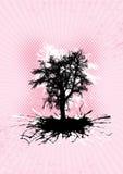 Black tree with splash roots. Royalty Free Stock Photos