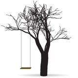 Black tree with a swing. Raster Royalty Free Stock Photos