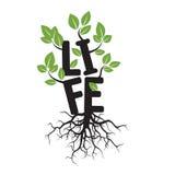 Black  tree and text LIFE Royalty Free Stock Photos