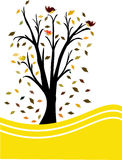 Black tree yellow background Stock Image
