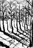 Black trees, black shadows. Ink painted illustration of trees, path and shadows Royalty Free Stock Photography