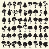 54 black trees silhouettes collection Royalty Free Stock Images