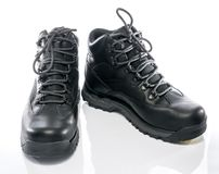 Black Trekking Shoes. On White background stock photos
