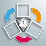 Black Triangle Clock 3 Frames Cycle Arrows. Black triangle, with clock and 3 frames on the gray background Stock Photo