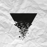 Black triangle with debris on white background with creased paper texture. Vector illustration Stock Images