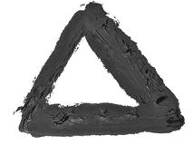 Black triangle grunge brush strokes oil paint isolated Royalty Free Stock Images