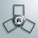 Black Triangle House 3 Frames Cycle. Black triangle, with house and 3 frames on the gray background Stock Photos