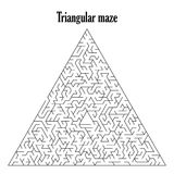 Black triangular labyrinth isolated on a white background,. Black triangular labyrinth or maze isolated on a white background,vector illustration Stock Photography