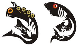 Black tribal fishes Royalty Free Stock Photos