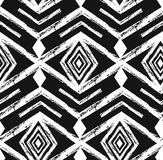 Black Tribal Navajo Vector Seamless Pattern With Doodle Elements. Aztec Abstract Geometric Art Print. Ethnic Hipster Stock Image