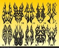 Black Tribal tattoo design sheet 011-020 Royalty Free Stock Photo