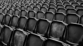 Black tribune chairs. Close up view Royalty Free Stock Image