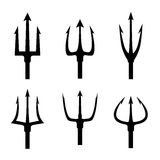 Black trident silhouette vector set Stock Photography