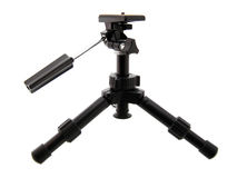Black tripod. And camera isolated on white Royalty Free Stock Photo