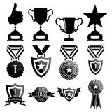 Black trophy and awards icons set Royalty Free Stock Photo