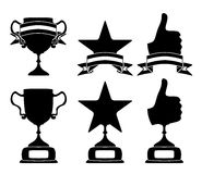 Black trophy and awards icons set Stock Photos