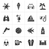 Black Tropic, Beaches and summer icons. Vector icon set stock illustration