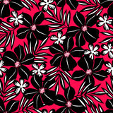 Black tropical flower on red background. Royalty Free Stock Image