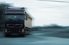 Black Truck - Large transportation. Black Truck with blurry background Stock Image
