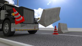 Black truck hits concrete roadblock on a sunny day pushing away Stock Photography
