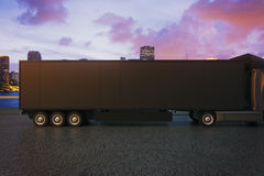 Black truck trailer sideview Royalty Free Stock Images