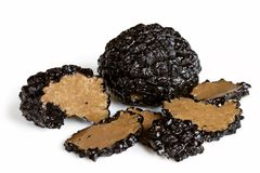 Black Truffle Mushrooms. Black truffle mushrooms, whole and sliced,  on white background Stock Photography